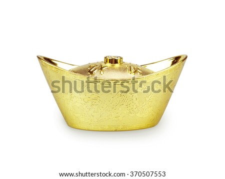 Chinese gold ingot. Isolated with clipping path. - stock photo