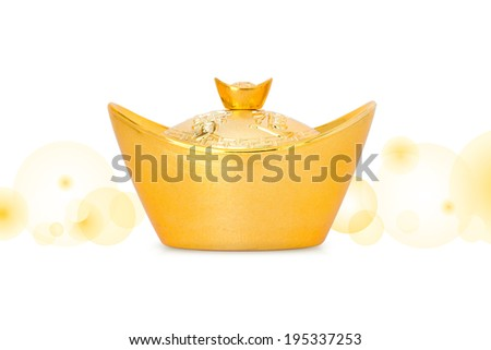 Chinese gold ingot with clipping path - stock photo