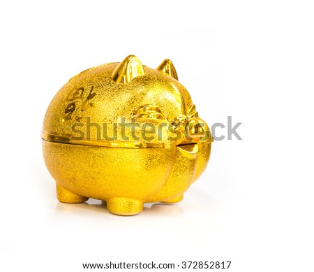 Chinese golden Pig piggy bank on white background - stock photo