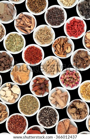 Chinese herbal medicine ingredients in porcelain bowls over black background. - stock photo