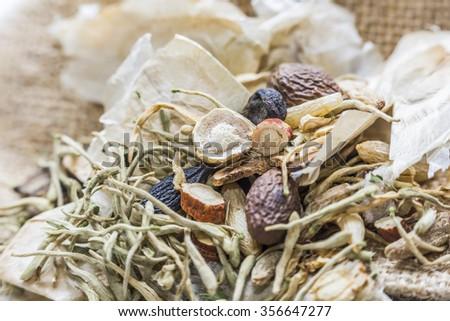 Chinese herbal medicines - stock photo