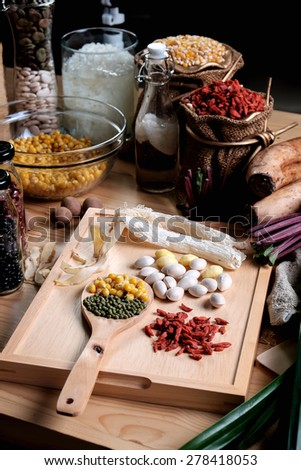chinese herbs for dessert traditional food - stock photo
