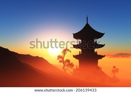 Chinese home against lanshafty. - stock photo