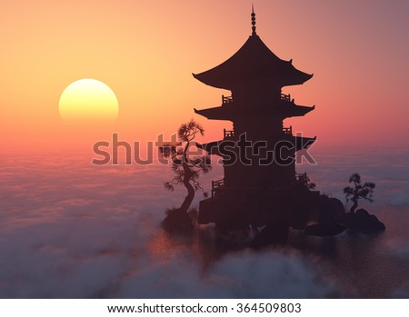 Chinese house at sunset. - stock photo