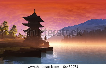 Chinese house in the mountains. - stock photo