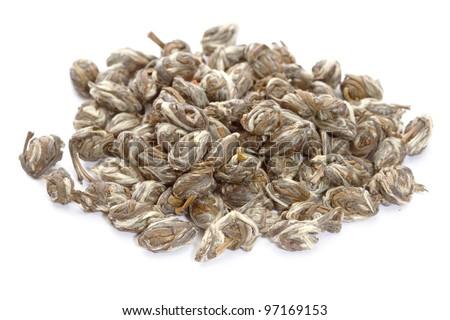 Chinese jasmine green tea isolated on white background - stock photo