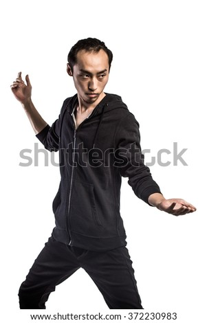 Chinese kung fu fighter - stock photo