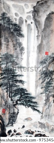 Chinese landscape painting. - stock photo