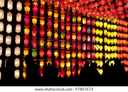 Chinese lanterns and silhouette - stock photo