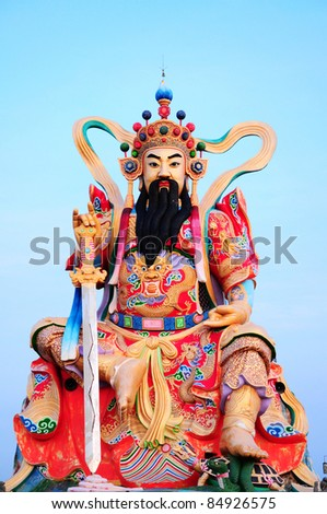 Chinese legend of the god's statue on the sky - stock photo