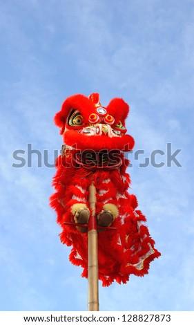 Chinese lion costume used during Chinese New Year celebration - stock photo