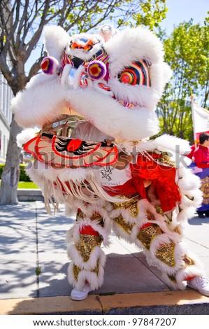chinese lion dance - stock photo