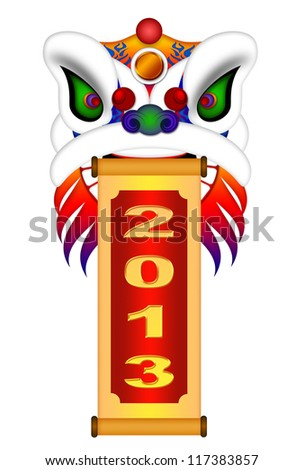 Chinese Lion Dance Colorful Ornate Head and Scroll with New Year 2013 Numerals Illustration Isolated on White Background - stock photo