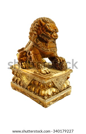 Chinese lion statue isolate white background - stock photo