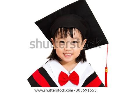 Chinese little girl graduation in white backround studio shot. - stock photo