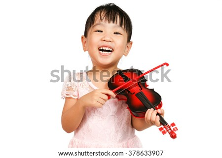 Chinese Little Girl Playing Violin on a white background - stock photo