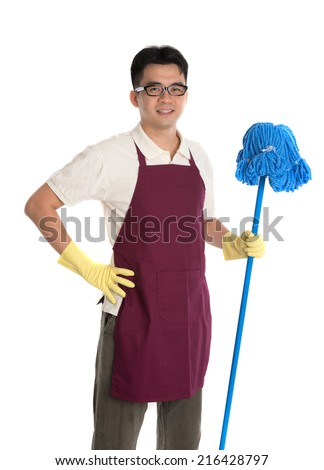 chinese male janitor or house husband cleaning isolated on white background - stock photo