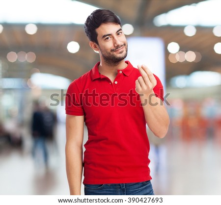 chinese man doing a rich gesture - stock photo