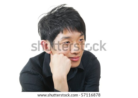 chinese man looking to right - stock photo