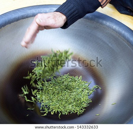 Chinese Man Preparing Tea Leaves Shanghai China - stock photo