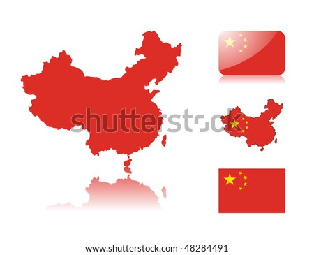 Chinese map including: map with reflection, map in flag colors, glossy and normal flag of China. - stock photo