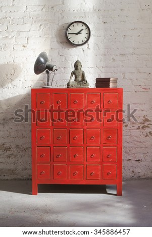 Chinese medical chest of drawer - stock photo
