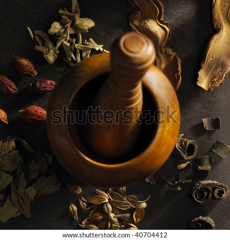 Chinese medicine and its facility - stock photo