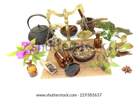 Chinese medicine with plants and mortar on light background - stock photo