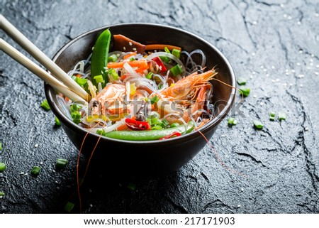 Chinese mix vegetables and rice noodles - stock photo