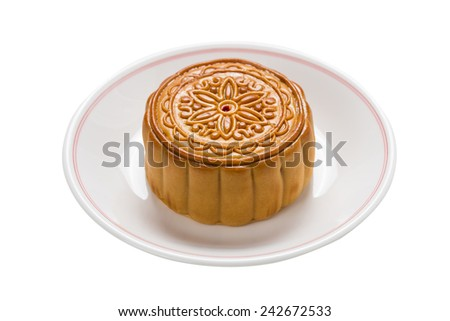 Chinese moon cake isolate on white background - stock photo