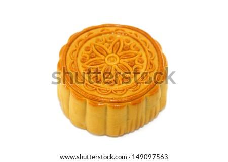 Chinese Mooncake on white background.  - stock photo
