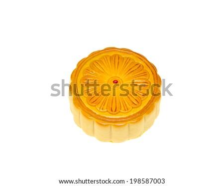 chinese mooncake over isolated white background  - stock photo