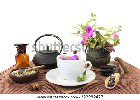 Chinese natural medicine with a cup of tea, flower petals and herbs - stock photo