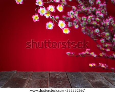 chinese new year deocration with blank wood copyspace for design purpose - stock photo