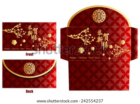 Chinese New Year Money Red Packet. Translation: Happy New Year - stock photo