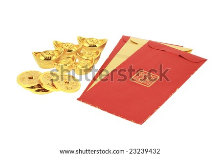 Chinese new year red packets and gold ingots on white background - stock photo