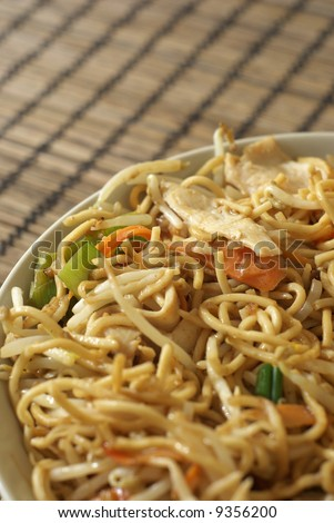 Chinese noodles. Shallow depth of field - stock photo