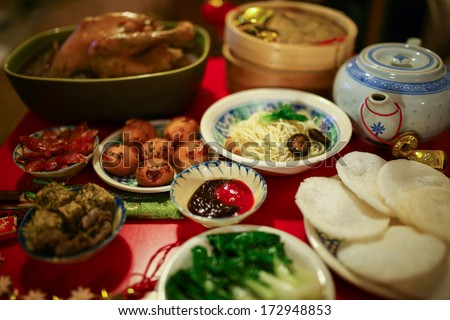 Chinese or Lunar New Year food are served with different kinds - stock photo