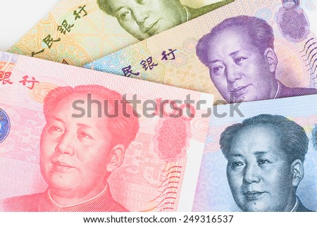Chinese or Yuan banknotes money and coins from China's currency, close up view as background - stock photo