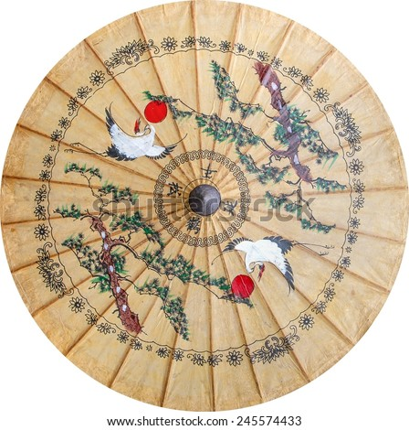 Chinese paint on paper umbrella  - stock photo