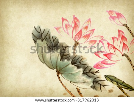 Chinese painting of a Lotus on old Paper Background - stock photo
