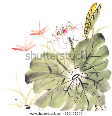 Chinese painting of a Lotus with dragonfly - stock photo