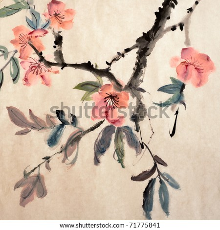 Chinese painting of flowers, morning glory, on art paper. - stock photo
