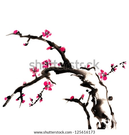 Chinese painting of flowers, plum blossom, on white background - stock photo