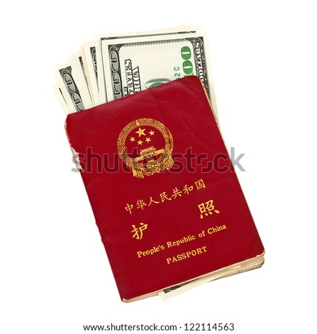 Chinese Passport  and US dollars isolated on white background - stock photo