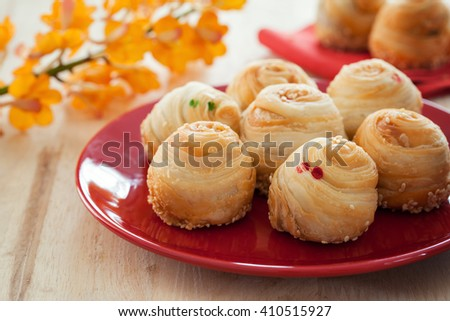 chinese pastry with sesame in plate - stock photo