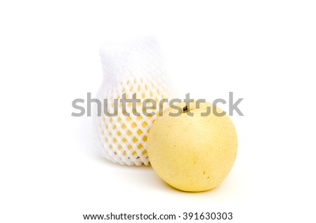 Chinese pear wrapped with white mesh foam  isolated on white - stock photo