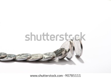 chinese pennise.Domino effect. Isolated on the white background - stock photo
