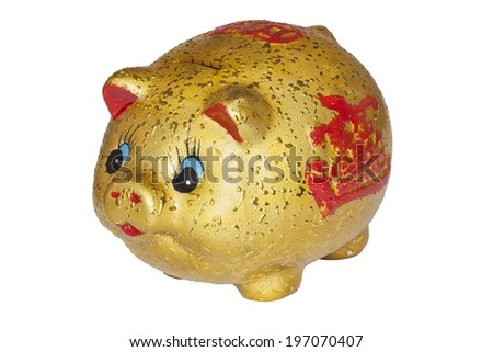 Chinese piggy bank isolated in white background with a clipping path - stock photo