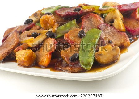 Chinese pork and sauteed mixed chinese vegetables with black bean ...